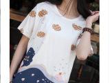 日系甜美小清新贴布绣小海豚全棉拼接女式上衣圆领休闲t恤