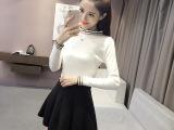 实拍条纹针织衫女套头长袖半高领打底衫毛衣