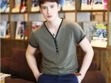2014新款夏装男士纯色上衣莫代尔韩版修身休闲V领短袖T恤男潮6