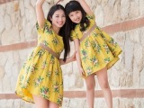 韩国童装 儿童夏季2015新款女童连衣裙 碎花亲子装母女裙高端定