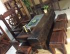 老船木茶桌新款圆棍桌椅组合沙发龙骨泡茶桌