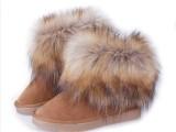 雪地靴厂家批发冬季靴子仿狐狸毛女短筒加厚棉靴保暖鞋