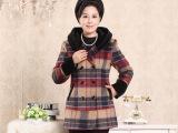 2014新款 中老年女装毛呢大衣 时尚妈妈装连帽羊毛呢大衣女 外