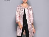 14秋冬新款欧洲站女装欧美时尚廓形钉珠金丝提花高档品牌风衣外套