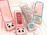 2014手工坊 萌可爱小清新 毛绒布艺薄荷绿小象熊猫遥控器保护套