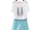 2014夏装新款女装 韩版鞋子印花雪纺衫短袖波点短裤两件套装1