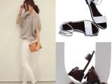 14夏季时尚真牛皮女士平底凉鞋休闲舒适透气露趾学院风女凉鞋子