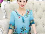 中老年女装夏装新款中袖雪纺衫40-50岁大码妈妈装镶钻T恤衫中长