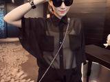 2014夏装新款女装欧美风后背3D梦露头凉爽雪纺中袖衬衫一件代发