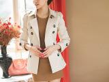 2013秋冬新款韩版短款修身风衣 双排扣女装 小外套