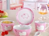 【小额混批】5件套儿童餐具 可爱粉象陶瓷碗盘勺杯 卡通餐具套装