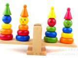 木制玩具 益智玩具 早教玩具  小丑套柱 跷跷板 JZ05  小