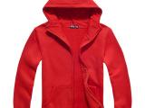350帽绒外套-红色 纯色纯棉卫衣diy卫衣来图定制 班服卫衣