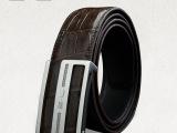 SL泰国正宗鳄鱼皮皮带 男士2013新款S形平滑扣真皮手工腰带