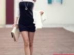 909#韩版 女装 春秋 蕾丝拼接修身显瘦打底裙 长袖连衣裙 四码