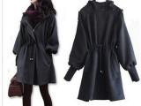 2014秋冬新品韩版女装 修身连帽毛呢大衣-泡泡袖毛呢外套001