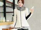 2014韩版时尚气质保暖大码羽绒棉服荷叶领棉衣女装 加厚棉服女