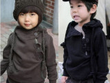 广东童装 男童女童装韩版超帅斜拉链全棉抓绒连帽儿童卫衣