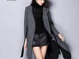 14秋冬新款欧洲站女装欧美廓形PU腰带侧开缝品牌羊毛呢大衣女外套