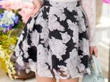 一件代销2015夏新款欧洲站韩版欧根纱短裙碎花半身裙 百褶裙97