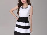 2014夏季新款 女士 雪纺 连衣裙 欧美时尚 条纹 女装 夏季