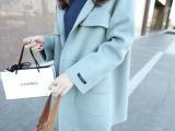 韩国代购2015秋冬新款女装韩版中长款呢子大衣女宽松羊毛呢外套女