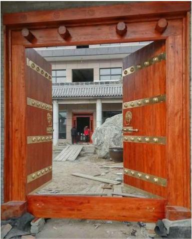 别墅进户门 实木大门 庭院门木门厂家 围墙双开大门