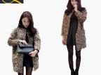 2014冬装时尚显瘦气质中长款呢子大衣 欧洲站加棉豹纹毛呢外套