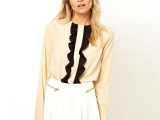 雪纺衬衫女 欧美上衣夏季女士长袖雪纺衫新款荷叶边门禁一件代发