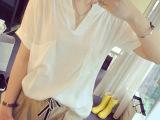 女装夏季新款 宽松大码 森女短袖棉麻 上衣V领短袖女T恤打底衫