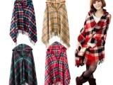 爆款秋冬季韩版格子披肩加厚羊绒斗篷披肩流苏带帽斗篷外套女批发