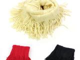 韩版流苏针织围脖围巾 女款多色保暖脖套