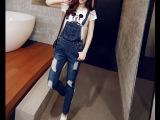 2015秋季新款韩国东大门女装直筒型中腰深色背带牛仔裤女长款