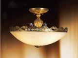 西元欧式全铜西班牙云石头半吸顶灯具卧室玄关门厅书房客房灯饰
