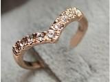 韩版饰品批发 创意新款V形独特设计款 镶钻小指戒指 尾戒 女