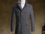 爆款冬季呢大衣围巾中长款羊毛加厚呢子男装