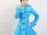 实拍2014新款韩版皮衣女中长款海宁绵羊皮大毛领加厚羽绒棉皮大衣