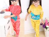 2014秋款新童装女宝0-1-2-3岁小猫韩版天鹅绒儿童套装 一