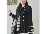 日系新款 水手服海军风秋冬热卖双排扣蝴蝶结裙摆毛呢大衣外套