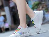单双拿货 新款女鞋韩版时尚彩虹小白鞋女士