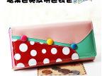 新品甜美亮皮长款钱包包 女糖果色拼色钱夹手拿卡包 韩版钱包批发