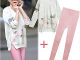 2014春新款水墨画中长款双拉链卫衣+弹力打底裤欧美套装C455