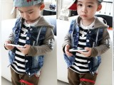 春款童装2014韩版儿童春装外套 男童衣服全棉牛仔上衣一件代发