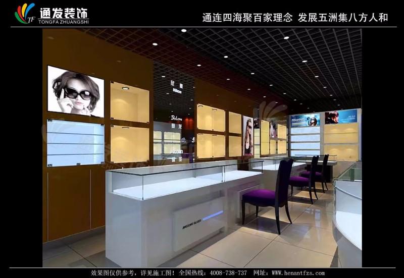 眼镜店装修设计效果图定制眼镜展柜公司河南通发装饰生产厂家