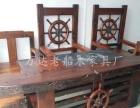 定西古船木茶台灯架批发老船木茶桌椅组合