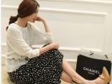 2014春季新款实拍新款韩版女装圆领蝙蝠袖罩衫波点连衣裙两件套