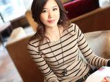 2014秋装新款大码女装圆领条纹打底衫t恤女长袖韩版修身潮