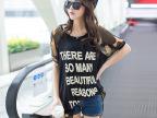 2014胖mm夏装新款大码女装韩版潮t迷彩雪纺上衣不规则短袖T恤
