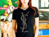 欧美外贸Y款式奥地利水钻S字母女式莱卡棉L短袖T恤(1229钻)