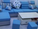 离开广州出套99新的蓝色布艺沙发带茶几